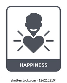 happiness icon vector on white background, happiness trendy filled icons from Startup stategy and success collection, happiness simple element illustration