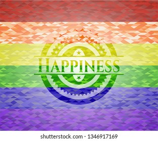 Happiness on mosaic background with the colors of the LGBT flag