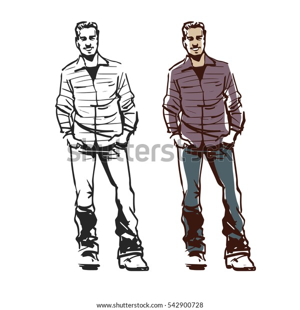 happiness and people concept, smiling man with hands in pockets, casual man smiling, success, sketch style, vector illustration