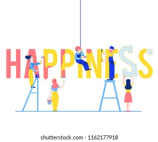 Happiness text design vector illustration with men and women building and painting big letters isolated on white background - flat male and female characters constructing word.