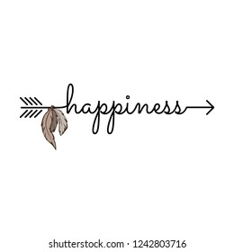 happiness, typography as a part of arrow with feathers