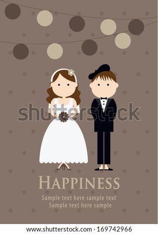 happiness wedding poster template vectorillustration background
