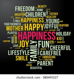 HAPPINESS word cloud. Dark and colourful tag cloud. Vector graphics illustration.
