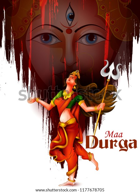 Happu Durga Puja Festival India Holiday Stock Vector