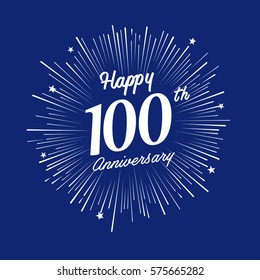 Happy 100 Anniversary. with fireworks and star on blue background.Greeting card, banner, poster