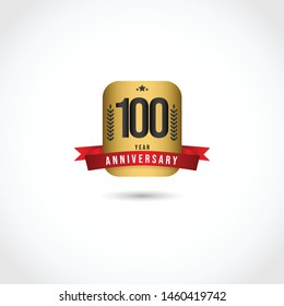 Happy 100 year anniversary design template. Design with badge gold for banner, greeting card or print.