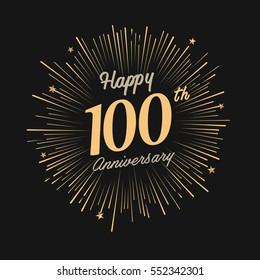 happy 100th anniversary. celebration logo with firework and dark background