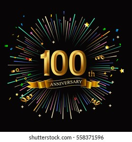 Happy 100th Anniversary. with fireworks and star on dark background.Greeting card, banner, poster