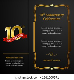 Happy 10th Anniversary background vector design. Luxury black paper with golden frame ornament and text for birthday celebration