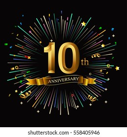 Happy 10th Anniversary. with fireworks and star on dark background.Greeting card, banner, poster