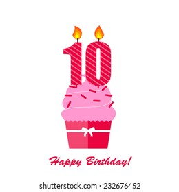 Happy 10th Birthday Anniversary card with cupcake and candle in flat design style, vector illustration