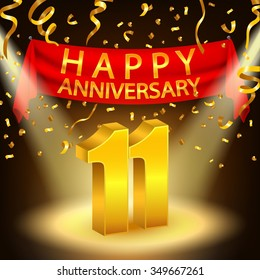 Happy 11th Anniversary celebration with golden confetti and spotlight