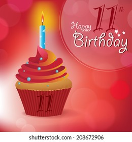 Happy 11th Birthday greeting/ invitation/ message - Bokeh Vector Background with a candle on a cupcake