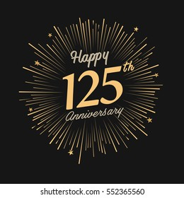 happy 125th anniversary. celebration logo with firework and dark background