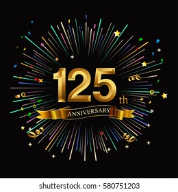 Happy 125th Anniversary. with fireworks and star on dark background.Greeting card, banner, poster
