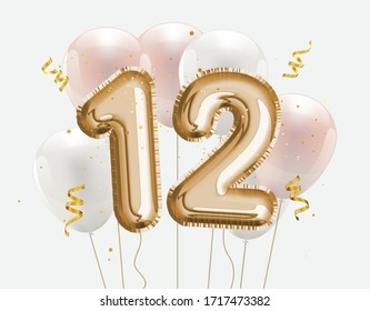 Happy 12th birthday gold foil balloon greeting background. 12 years anniversary logo template 12th celebrating with confetti. Vector stock