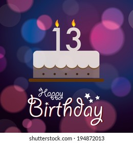 Happy 13th Birthday - Bokeh Vector Background with cake.