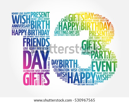 Happy 13 Th Birthday Word Cloud Collage Stock Vector