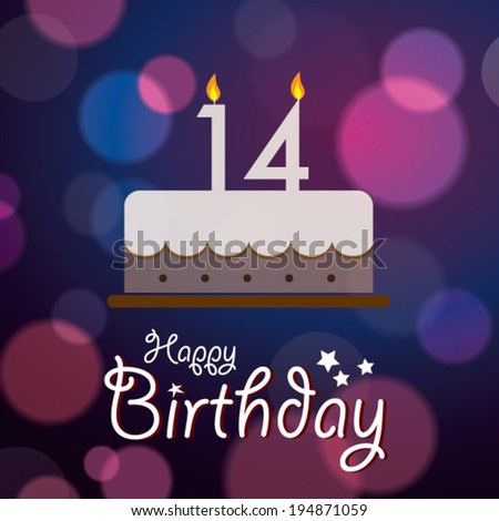 Happy 14th Birthday Bokeh Vector Background Stock Royalty