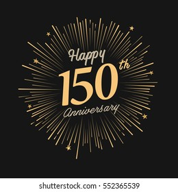 happy 150th anniversary. celebration logo with firework and dark background