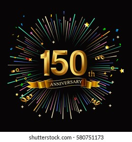 Happy 150th Anniversary. with fireworks and star on dark background.Greeting card, banner, poster
