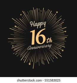 Happy 16th Anniversary. with fireworks and star on dark background.Greeting card, banner, poster