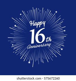 Happy 16th Anniversary. with fireworks and star on blue background.Greeting card, banner, poster
