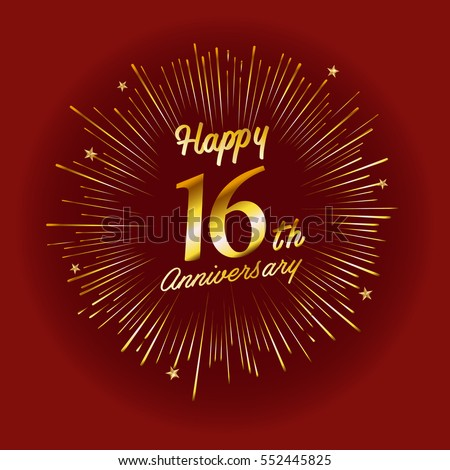 Happy 16th Anniversary Fireworks Star On Stock Vector Royalty Free