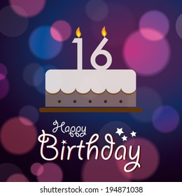 Happy 16th Birthday - Bokeh Vector Background with cake.