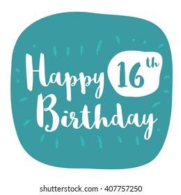 Happy 16th Birthday Card (Brush Lettering Vector Design)