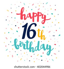 Happy 16th Birthday Greeting Card Cute Pattern Calligraphy Lettering