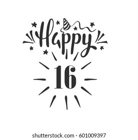Happy 16th Birthday.  Lettering. Hand drawn vector illustration, design, greeting card, logo.