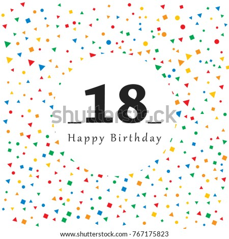 Happy 18 Birthday Card Abstract Background Stock Vector Royalty