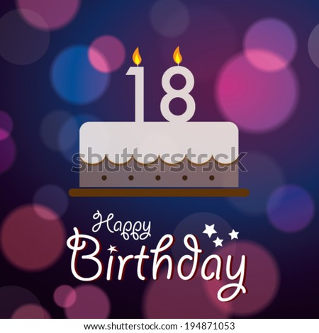 Happy 18th Birthday Bokeh Vector Background Stock Vektorgrafik