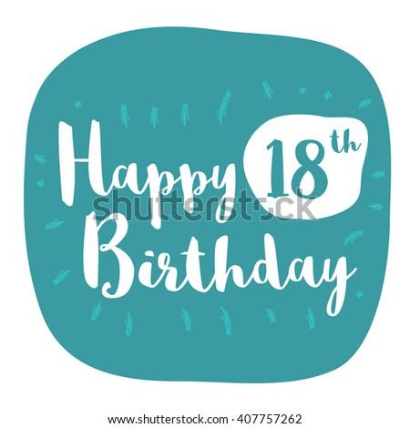 Happy 18th Birthday Card Brush Lettering Vector Design