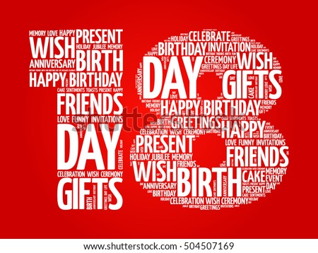 Happy 18th Birthday Word Cloud Collage Concept