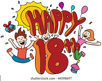 Happy 18th cartoon isolated on a white background.