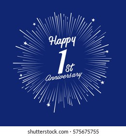 Happy 1st Anniversary. with fireworks and star on blue background.Greeting card, banner, poster