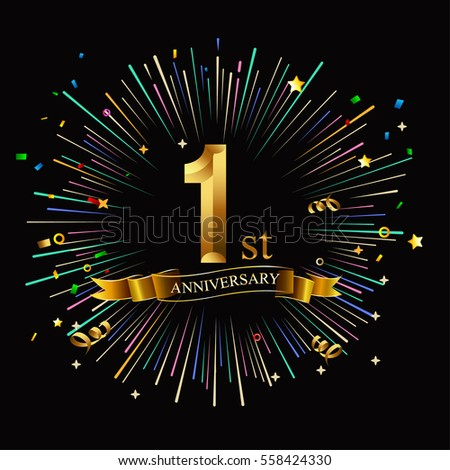 Happy 1st Anniversary Fireworks Star On Stock Vector Royalty Free
