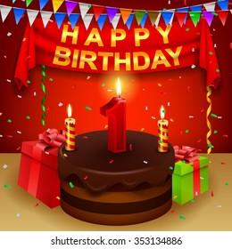 Happy 1st Birthday with chocolate cream cake and triangular flag