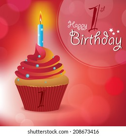 Happy 1st Birthday greeting/ invitation/ message - Bokeh Vector Background with a candle on a cupcake
