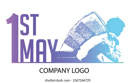 Happy 1st may lettering vector background. Labour Day logo concept with wrenches. International Workers day illustration for greeting card. - Vector