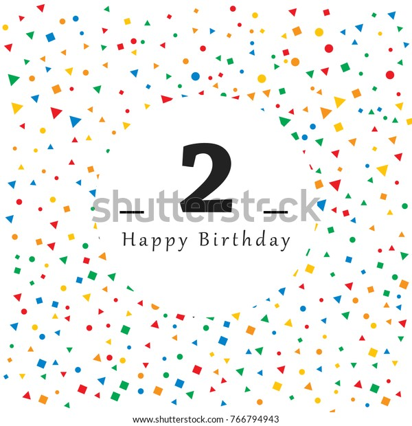 Happy 2 Birthday Card Abstract Background Stock Vector Royalty Free