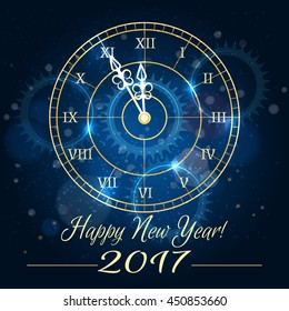 Happy 2017 new year vector background with blue clock