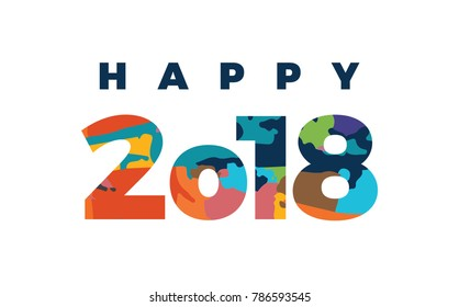 Happy 2018 colorful vector illustration greeting card