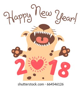 Happy 2018 New Year card. Funny puppy congratulates on holiday. Dog Chinese zodiac symbol of the year. Vector illustration.