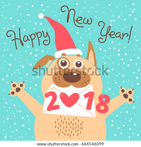 happy 2018 new year card funny puppy congratulates on holiday dog chinese zodiac symbol