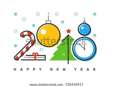Happy 2018 New Year Flat Thin Stock Vector (Royalty Free) 720434917 ...