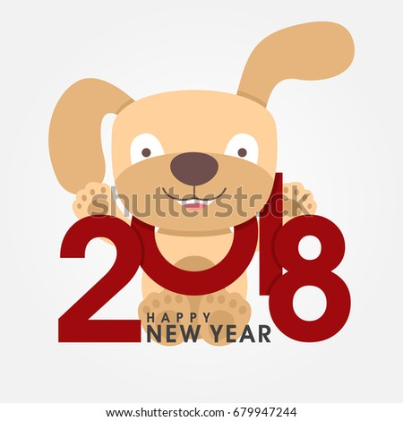 happy 2018 new year greeting card chinese zodiac funny dog congratulates on holiday