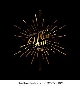 Happy 2018 New Year. Holiday Vector Illustration With Lettering Composition And Burst Or Light Rays. Golden Textured Happy New Year Label